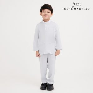 Gene Martino Malik Baju Melayu Slim Fit UA1081FA 94 Light Gray