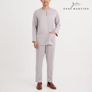 Khalid Baju Melayu Johor Modern Fit JA1078FA 95 Light Grey