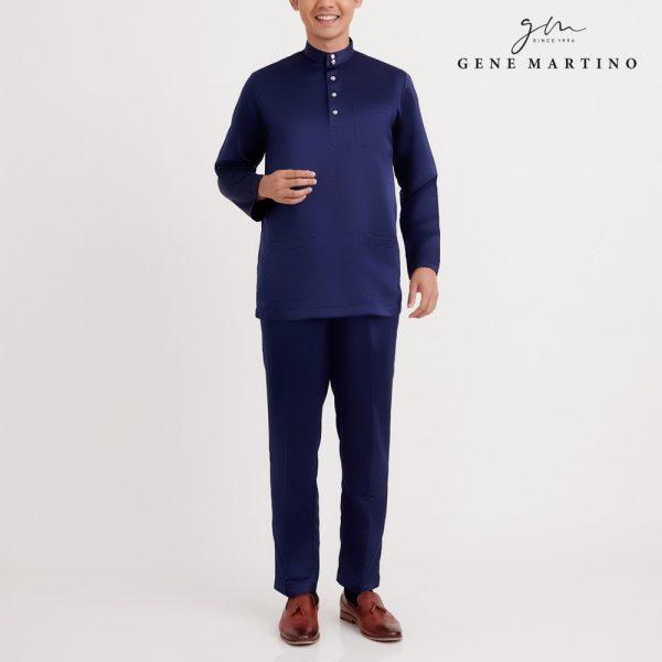 Gene Martino Rafi Baju Melayu Modern Fit MA1089FA 79 Navy Blue