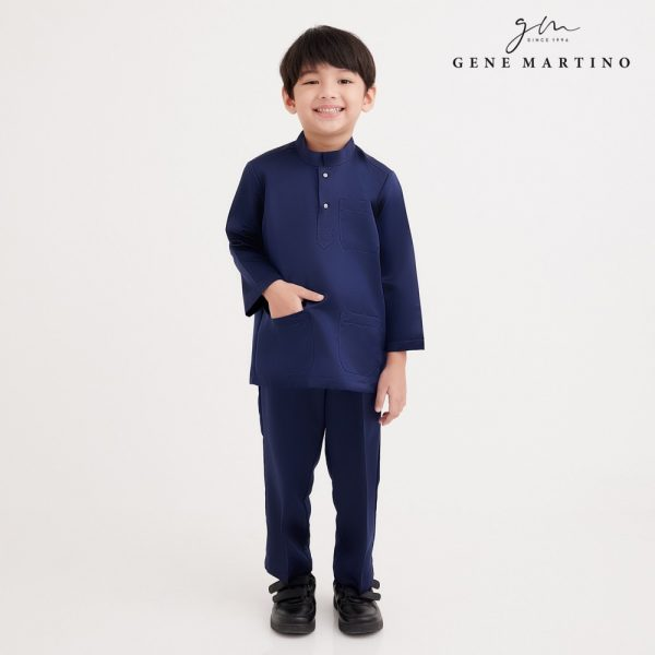 Gene Martino Rafi Baju Melayu Modern Fit UA1089FA 79 Navy Blue