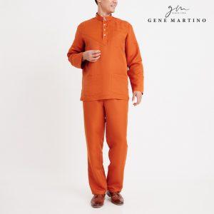 Gene Martino Aleef Baju Melayu Modern MA1020FA1 46 Orange Tangerine