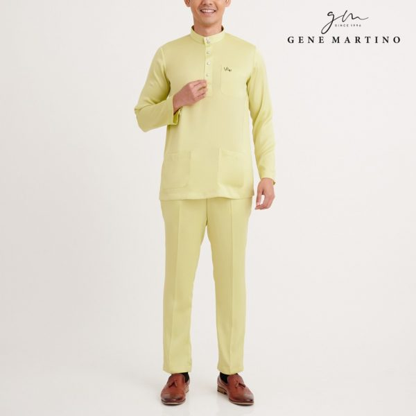 Gene Martino Wadi Baju Melayu Slim Fit MA1094FA 25 Light Yellow Citron