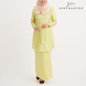 Gene Martino Wadiah Kurung Modern Pleated GA1094FA 25 Light Yellow Citron